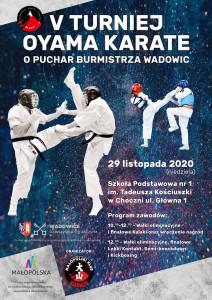 Plakat  Turniej Oyama Karate Wadowice 2020